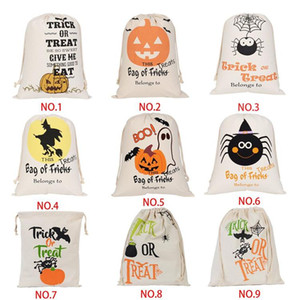 Hot Halloween Candy Bag Regalo Sack Trattare o un trucco Borse zucca Printed Canvas Ognissanti Christmas Party Festival coulisse Bag