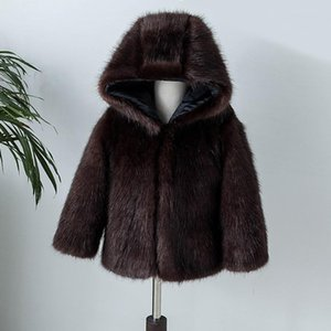 2019 Winter Children's Baby Faux Mink Fur Coat Fake Fur Hooded Lapel coat Boys Girls Thicken Warm Coat Full Sleeve Outerwear Y01