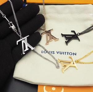 Collana V progettista monili di marca collane del Choker formato 316L di titanio dell'acciaio 18K Rosa Collana in oro placcato argento Normale