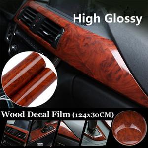Nouveau High Glossy Wood Grain Vinyle Autocollant Decal De Voiture Interne DIY Film 30x124CM 1 * Feuille Film Film PVC Autocollants De Voiture Style