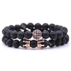2pcs set King Micro Pave Cubic Zirconia Crown Disco Ball Charm Lava Stretch Bracelet 8mm Beads Natural Gemstone Chakra Collection Reiki Gift