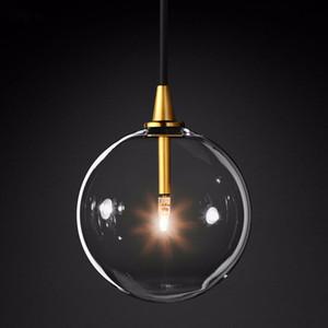 1 Işık Temizle Cam Globe Led G4 Luster Armatür Kolye Işıklar Basit Nordic Altın Metal Asma Lamba Odası Droplight Yemek