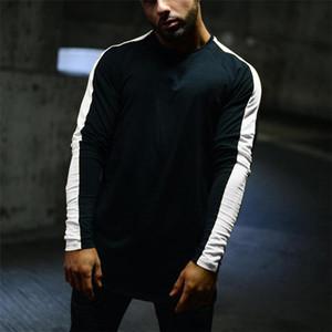 Высококачественные мужские футболки Мужские весенние дизайнерские футболки в полоску с длинным рукавом с длинными рукавами Спортивные повседневные футболки