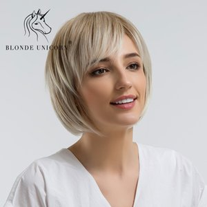 BLONDE UNICORN Synthetic Wig 10 Inch Light Brown Bob Wigs For Women With Side Bangs Hairs High Temperature Fiber Straight Wigs