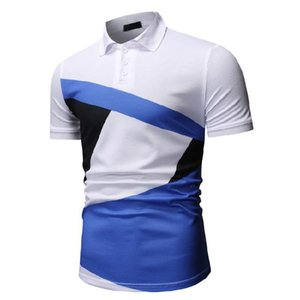New Mens Contrast Color Polos High Street Fashion Short Sleeve Digital Print Summer Male Quick-Dry Tees