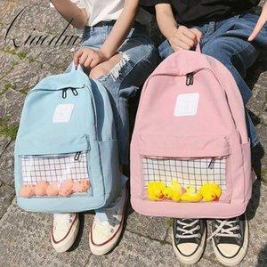 Qiaoduo Casual Limpar Womens impermeáveis Backpack Harajuku Nylon Viagem Mochilas escolares bonito pequeno Duck meninas adolescentes Student Back Pack