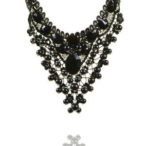 Gotico Vintage Vuoto-fuori Dichiarazione della collana di modo del merletto wedding della collana a più strati di pizzo esagerazione Girocollo bellezza della pietra preziosa