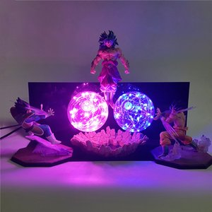 Dragon Ball Z Vegeta Goku VS Broly Action Animes Figures Night Lights 3D Son Goku Figurine Super Saiyan DIY Set Lamp Juguetes Toy T200413