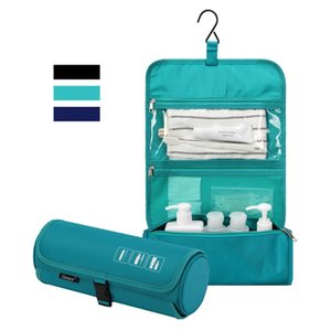 Gonex Hanging Toiletry Bag Waterproof Travel Toiletry Organizer Cylinder Makeup Bag with Built-in Hook Comestic Bags