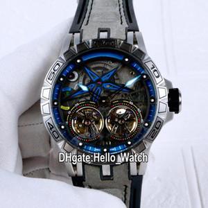 جديد Excalibur 46 PVD RDBEX0481 Double Tourbillon التلقائي رجالي ووتش الأسود الهاتفي Blue Inner Steel Case رمادي Leathre Watches Hello_Watch