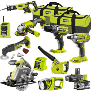 Ryobi 9 piezas Power Tools Kit combinado de 18V ONE + 2,5 / 5.0Ah 2 x Batería + Cargador