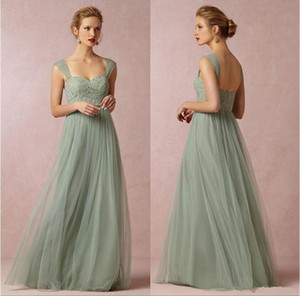Sage Green 2019 Long Bridesmaid Dresses A-line Sweetheart Neckline Cap Sleeves Tulle with Lace wedding party guest Prom Dresses