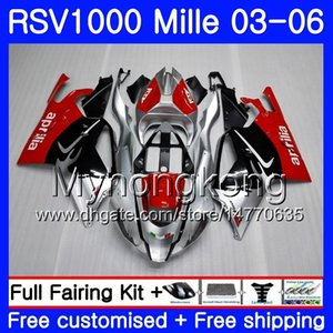Cuerpo para Aprilia RSV 1000R 1000 RV60 Mille RSV1000 R RR 03 04 05 06 316HM.0 RSV1000RR RSV1000R 2003 2004 2005 2006 Carenados Caliente Rojo plateado