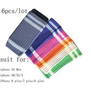 6pcs par lot étui en laine tricoté coloré pour iphone XS MAX / XS / XR / X / 8 PLUS / 7 PLUS / 6 PLUS