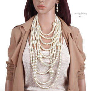 امرأة أنيقة جميلة ذات جودة عالية من صنع الإنسان لؤلؤة قلادة طويلة متعددة الطبقات قلادة الاكسسوارات النسائية للعروس الأزياء FreeShipping
