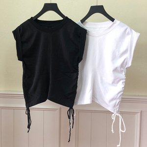 Women Tshirt 2020 Summer New Sleeveless Drawstring T-shirt Solid Color
