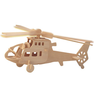 Free shipping------ Fighters Planes Helicopters Wooden Jigsaw 3D Simulation Model DIY Stereo Jigsaw Puzzle Children Unisex Hand Puzzle ToyS