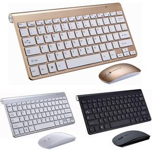 Teclado 50pcs 2.4G y ratón del teclado mini multimedias ratón Combo Set para el cuaderno del ordenador portátil Mac Office Supplies TV PC de escritorio