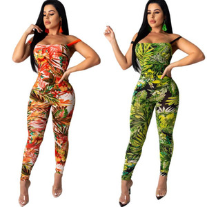 Leaves Print Sexy Bandage Jumpsuit Women Cross Backless Lace Up Rompers Summer Sleeveless Bodcyon One Piece Overalls 2 Color
