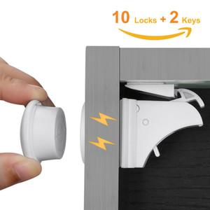 10Locks 2 chiavi di sicurezza del bambino magnetica Serrature Set Bambino Protezione bambini del Governo del cassetto del portello di sicurezza Locker Cupboard sicurezza bambini