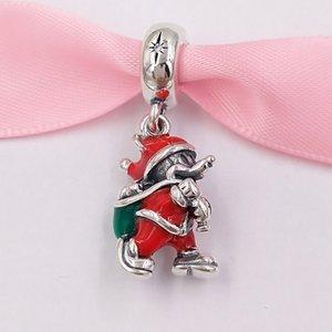 Authentic 925 cuentas de plata esterlina DSN, Santa Miky Bolsa de regalo Dangle Charm, Charmes de esmalte verde rojo se adapta a la joyería de estilo de Pandora Europea