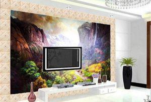 Custom 3D Estereoscópico Walpaper paisaje Pintura al óleo pueblo de montaña Wallpapers Sala de estar Foto papeles de pared decoración para el hogar