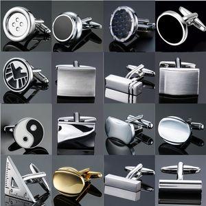 Классический дизайн Мужская французская рубашка Манжета Кнопка высокого качества Медь Silver Metallic Black Эмаль Запонки Лазерная металла Запонки