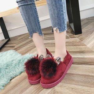 Toe Rodada Moda Mulheres Winter Fur Loafers Plush deslizar sobre Flock quente e raso Flats Shoes Sólidos Casual Concise Shoes