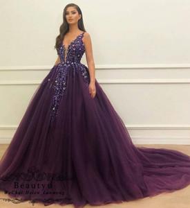 Prinzessin Lila Ballkleid Promkleider Sexy V-Ausschnitt Luxus Crystals Spitze Tulle des Bonbon-16 Kleid Arabisch Plus Size Prom Abendkleider