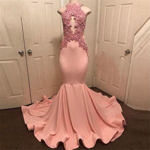 Halter Neck mangas Robe De Soiree Party Dress Abiye Peach-Pink Mermaid Prom Vestidos Lace apliques Longo Prom Dress vestido formal
