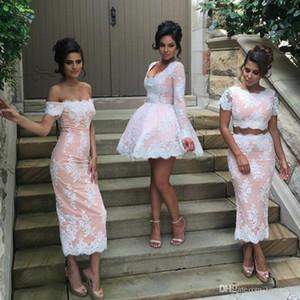 Новый дизайн несоответствуют свадебные платья невесты Blush Blush розовый с белыми кружевной оболочкой с плечом 2020 Новые формальные платья для вечеринок вечеринки