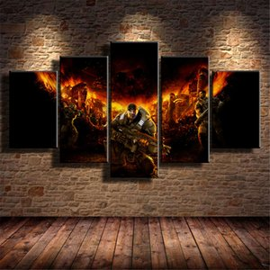 Gears of War,5 Pieces HD Canvas Printing New Home Decoration Art Painting  Unframed   Framed
