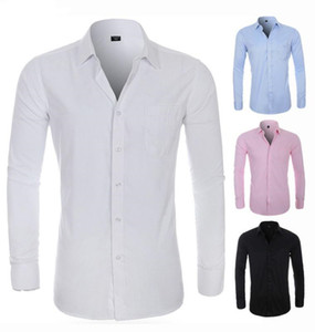 Mens Silk Shirts Langarm festes Kleid Shirts Taschen Male Leger Regular Fit Male dünne Tops