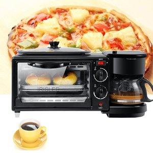 LEWIAO elétrico 3 em 1 Pequeno-almoço Máquina multifunções Mini Drip americana Cafeteira Forno de Pizza Egg Omelette Frigideira Torradeira