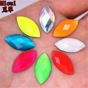 Micui 200pc 7*15mm New Horse eye Resin Rhinestones Flat Back Beads Crystal applique Stones Non Sewing for DIY Crafts No Hole ZZ256