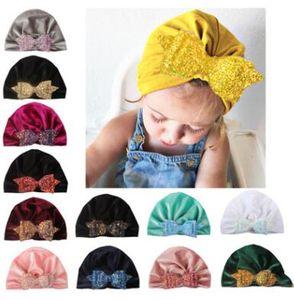 13 цветов блесток лук нейлон шляпа зима теплая опрессовки новорожденных мальчиков девочек шапки шерстяные шляпы съемки реквизит
