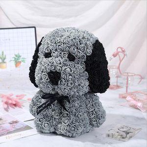 40CM PE Rose Dog Foam Rose Flower Gift Artificial Decoration For Graduation Women Valentine's Day Gift Bow Rose Dog