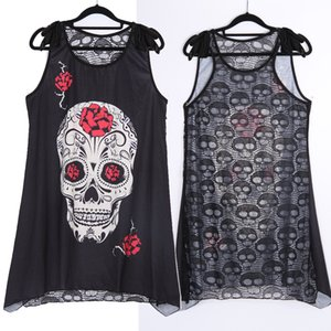 Wipalo HOTsale Summer Plus Size New Women T-Shirt Sexy Skull Print sleeveless Tee Shirt Lace Hollow Out Black female Tee Tops