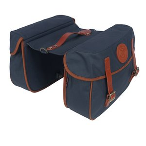 Tourbon Vintage Bicycle Pannier Bag Rear Rack Trunk Retro Bike Backseat Luggage Double Roll-up Bags Waxed Waterproof Canvas
