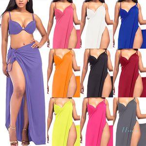 Donne slittamento spiaggia vestito solido di colore Sling Beach Wear Summer Night Club vestito da partito sexy pannello esterno dei ganci di usura S-5XL Biniki Cover Up avvolge C3295
