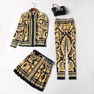 Avrupa ve Amerika Birleşik Devletleri son yüksek kaliteli baskılı ince ceket + etek + pantolon üç parçalı takım elbise