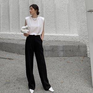 Женщины Белый Черный Брюки 2020 Summer Casual Белый высокой талией офиса леди Классические прямые брюки Femme Workwear Брюки