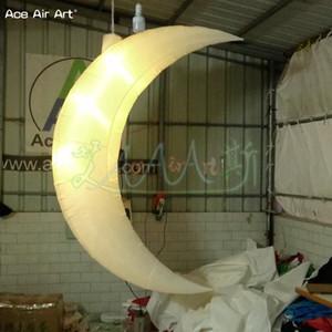 2 متر ح نموذج القمر مضيئة ، أدى شنقا نفخ الهلال القمر ، منطاد الهواء البارد مع 3 قطع أضواء ببليه للمرحلة الديكور و الزفاف