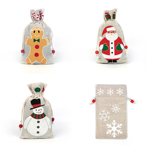 Bolsa de caramelo 4 estilos regalos de Navidad con asas de la bolsa para el Santa Claus de la celebración de Navidad del muñeco de almacenamiento arpillera cumpleaños decoración
