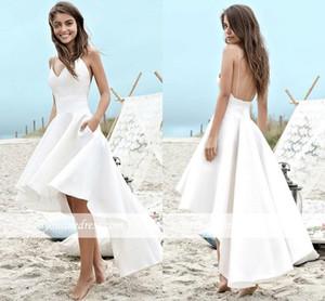 Alto Bajo Corto Vestidos de novia 2019 A Line Summer Beach Boho Vestidos de novia A Line Satén Backless Spaghetti Straps Vestidos de fiesta BC0354