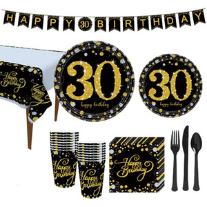 Number theme party Disposable Tableware paper plate cup napkin banner tablecloth 21 30 40 50 60th Birthday Anniversary decor