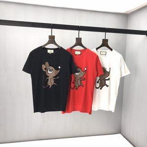 2020 última carta Europeu estilo de moda do mouse boca pontas primavera e no verão impressão T-shirt selvagem de algodão designer de luxo dos homens italianos