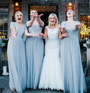 2020 Dusty Blue Country Bridesmaid Dresses With Top Sequin Tulle A Line Long Maid Of Honor Gown Short Sleeve V Neck Bling Party Gowns