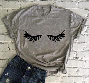 OKOUFEN Ciglia T-shirt Ciglia Tumblr Per Lady Top Stampa Maglietta New Fashion Carino Manica Corta Femme Top Tee Drop Ship
