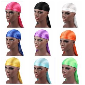 2019 Nuevo Sedoso Largo Cola Bufanda Cap Satén Durags Pañuelo Turbante Pelucas Hombres Sedoso Durag Sombrero Sombrero de pirata Accesorios para el cabello